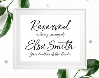 Wedding Memorial Seat for a Lost Love one-Stylish Hand Lettered in Loving Memory Personalize Signs-Printable Calligraphy Memory Plaque