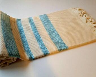Turkish BATH Towel Peshtemal (turquiose striped) - Very Soft Bamboo Beach, Spa, Swim, Pool Towels and Pareo