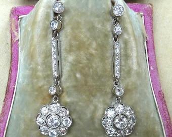 Fabulous 18ct 18k white gold art deco 4.36ct Diamond daisy drop earrings wow