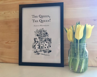 Alice In Wonderland Card Soldiers Black And White Typography Framed Print