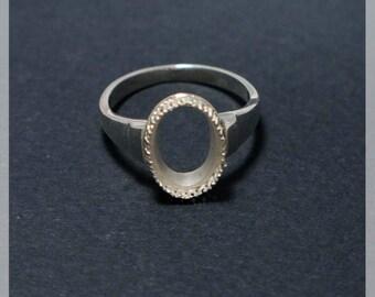 Silver Ring Base -  Blank Ring Tray Fit 12х8mm  Bezel Setting