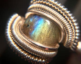 Sterling Silver Wire Wrapped Labradorite Ring, Heady Wire Wrap Ring, Heady Wire Wrapped Ring, Labradorite Wire Wrap, Heady Ring, Wirewrap