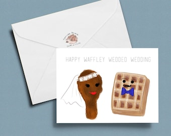 funny wedding card, funny marriage card, marriage congratulations card: Waffley Wedded Wife