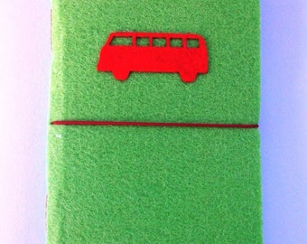 HANDMADE FELT NOTEBOOK By Shreem | Camper Van Travel Journal Diary