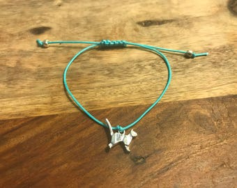 Blue macrame knot bracelet with silver cat charm