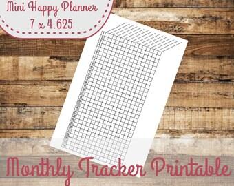 Monthly Habit Tracker Mini Happy Planner Size Insert - INSTANT DOWNLOAD