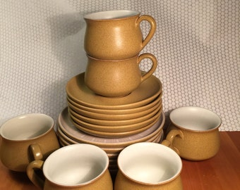 Denby Ode Made in England Stoneware Cups, Saucers, Bread and Butter Plates