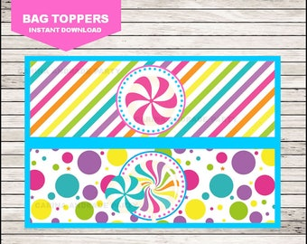 50 Off Sale Candy Bags toppers instant download, Sweets birthday eat bags toppers, Candyland Toppers