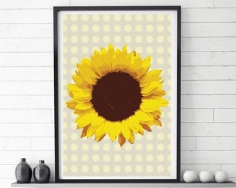 Large printable poster, Retro style poster, Sunflower poster, Sunflower print, Printable artwork, Digital print, Poster, Digital download
