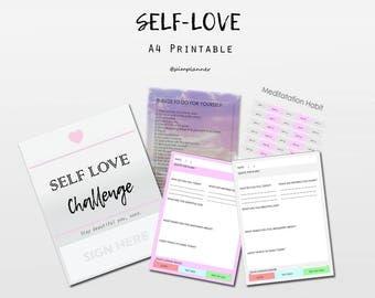 Self Love Journal / Self Love Kit, meditation challenge, positive thinking challenge, positive journal, Growth Mindset