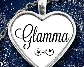 Glamma Heart Pendant Necklace - Great Gift for Glamorous Grandma or Grandma-to-be