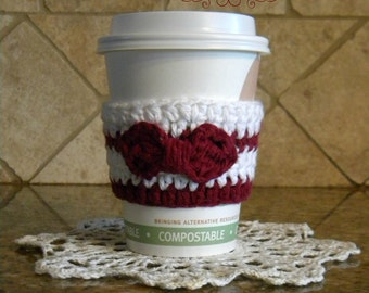Handmade crochet striped coffee tea cup cozy with bow