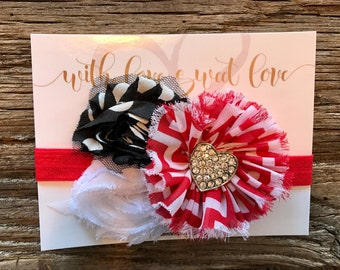 Valentine's Day Red/Black Rhinestone Heart Headband