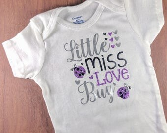 Little Miss Love Bug Onsie, Baby Girl Onsie, Baby Girl Outfit, Valentine's Day Outfit