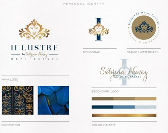 Mini Branding kit for Real Estate, Interior Design, Fashion, Custom Logo, Initials, Gold and Navy Blue, Royal Logo, Luxury Logo, Elegant.