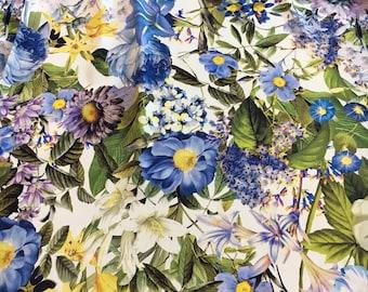 PURE SILK Chiffon Fabric by the Yard Printed Silk Fabric Floral Print Chiffon Fabric Floral Print Fabric