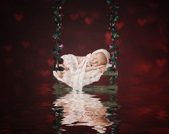 Newborn digital backdrop, red swing, swing, hearts, love, newborn, digital background, red, floral swing,