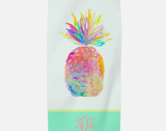 Pineapple Beach Towel, Personalized towel, monogram pineapple beach towel, pineapple decor, nautical beach towel, pineapple bachelorette