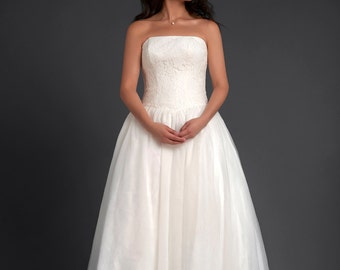 Traditional A Line Simple Wedding Dress by Kim & Karen on Etsy
