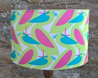 Pelican Fabric Lampshade/light shade. zingy pink, green and blue. Drum lamp shade.