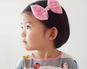 Big Tulle Bow with Pompoms Hair Clip