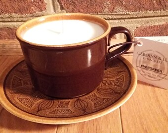 Evergreen Cup and Saucer Hand Poured Soy Candle
