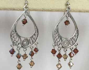 Sterling Silver and Swarovski Crystal Chandelier Earrings