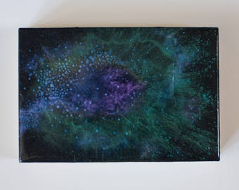 Birch Wood Panel Acrylic Space Painting Stardust #4