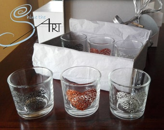 6 hand painted shot glasses heart design