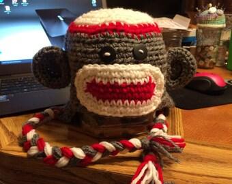Sock Monkey Crochet Earflap Hat