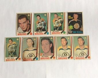 1969-70 O Pee Chee Boston Bruins Hockey Cards