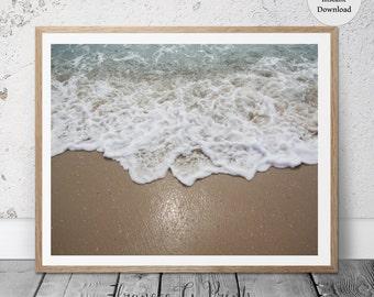 Ocean Shore PRINTABLE  Art,  Beach Decor, Nordic Art Print Scandinavian Art Print Minimalist Art Beach Shore Wall Art Digital, Coastal Art