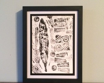 Feather with Circle and Scroll Accents- Original Relief Print