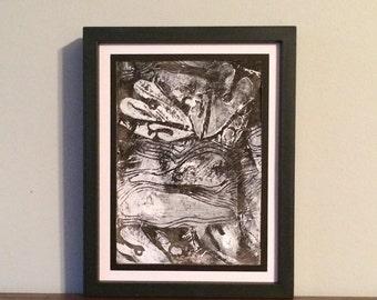 White Hearts over Landscape on Black Background- Original Relief Print