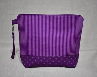 Purple Stripe Project Bag, Medium Bag for Knitting or Crochet