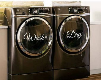 Wash Dry Decals - Washer Dryer Decals - Wash Dry Laundry Room Decals - Wash Dry Laundry Stickers