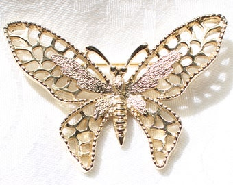 Vintage Signed Sarah Coventry Large Butterfly Brooch with Cut Out Detailing