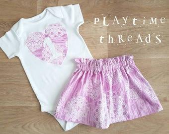 Girls First Birthday Outfit, Girls Cake Smash, Size 1 Girls Onesie / Bodysuit & Skirt Outfit, 1st Birthday, Purple Birthday Set