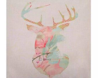 Floral deer pillow cover