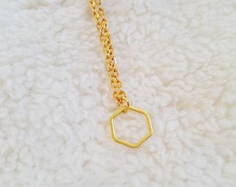 Delicate necklace handmade 18k gold plated hexagon pendatn