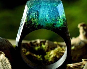 Resin ring with beautiful scense