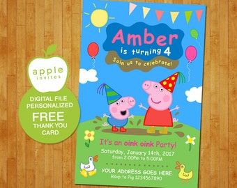 Peppa Pig Invitation, Peppa Pig Birthday , Peppa Pig Party, Peppa Pig, FREE Thank you Card!