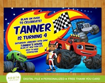 Blaze and the Monster Machines Invitation, Blaze and the Monster Machines Birthday, Blaze and the Monster Machines Party, FREE Thankyou Card