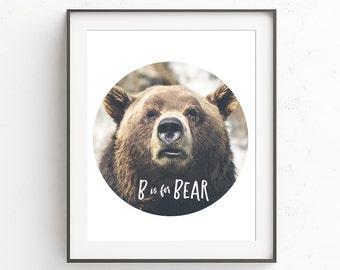 B is for Bear Nursery Room Printable, Nursery Decor, Letters for Nursery, Kids Room Digital Download, ABC Wall Art, Animal Wall Decor