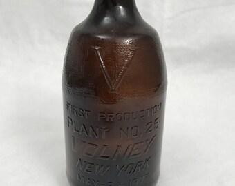 Vintage Brown Bottle, Volney NY Bottle, Beer Bottle, First Production Bottle, Bear