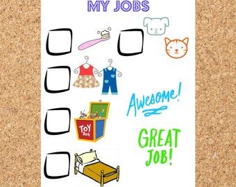 Chore chart with pets, toddler chore chart, preschool chore cart, home school chore cart, easy sticker chart, easy reward chart, blank chore