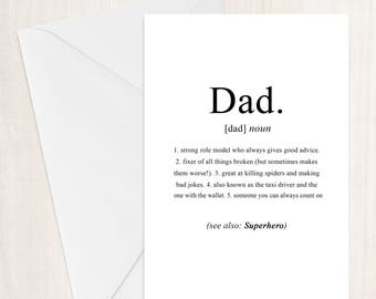 Dad Definition Fathers Day Card