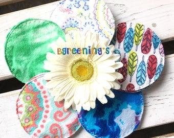 Hippie, Gypsy Themed, Cloth Nursing Pads, Reusable, Washable, Environmentally Friendly, Flannel, Cotton Nursing Pads, Breast Feeding, Eco Fr