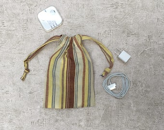 smallbags in yellow cloth with stripes - cotton bags