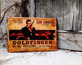 James Bond Goldfinger Movie Poster Vintage Wooden Picture Home Decor